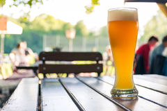 German Beer 0,5 Liter on Wooden Table Biergarten Traditional Cul Royalty Free Stock Photo