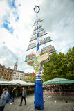 German beer purity law. MUNICH, GERMANY - MAY 9, 2017 : A pole representing Munchner Reinheitsgebot at the outdoor food market near Marienplatz in Munich stock photo