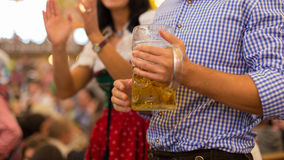 German beer Tankard and traditional clothes Royalty Free Stock Images