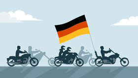 German bikers on motorcycles with national flag Stock Photo