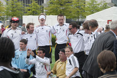German blind soccer team. International blind soccer match between Germany and Turkey on 26th of May 2010 in front of the Reichstag in Berlin. German team wins 3 Royalty Free Stock Photos
