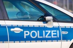 German blue police car sign. A german blue police car sign stock photo