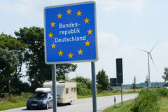 German Border. Photo with German border sign royalty free stock photos