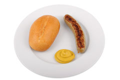 German bratwurst with bun and mustard Stock Images
