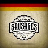 German Bratwurst. Vintage Label for German Sausages - Bratwurst Stock Photo