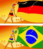 German and Brazilian girl football fans Royalty Free Stock Images