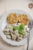 German bread dumplings with mushroom sauce Stock Photo