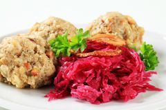 German bread dumplings with red cabbage Stock Image