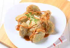 German bread dumplings with sauerkraut and onion Royalty Free Stock Images