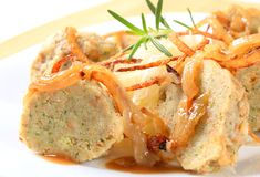 German bread dumplings with sauerkraut and onion Royalty Free Stock Image
