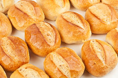 German bread rolls. Plenty of fresh bread rolls on white background in a german bakery Stock Photography