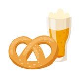 German breakfast, pretzel beer illustration. Royalty Free Stock Photography
