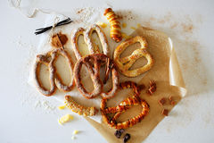 German bretzels with spice top view. Food Royalty Free Stock Photography