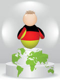 German buddy on podium. German buddy on global podium Royalty Free Stock Images