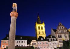 German buildings at night. Details of building facades and an illuminated church at night in Rhineland-Palatinate or Rheinland-Pfalz, German Stock Photos