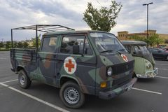 German Bundeswher Volkswagen Transporter T3 Ambulance royalty free stock photo