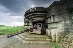 German bunkers and artillery in Normandy,France Stock Photo