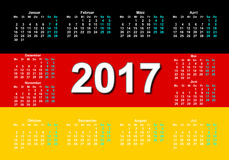 German calenda.Deutsch language. Calendar for 2017 with the German flag in the Danish language Royalty Free Stock Images