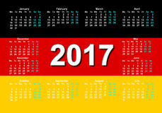 German calendar. Calendar for 2017 with the German flag Royalty Free Stock Photography