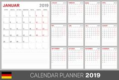 German calendar 2019. German calendar planner 2019, week starts on Monday, set of 12 months January - December, calendar template size A4, simple design on white royalty free illustration