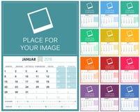 German Calendar 2018. German planning calendar 2018, set of 12 months January - December, week starts on Monday, colorful calendar template, vector illustration Stock Image