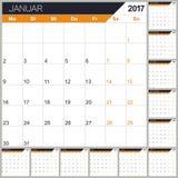 German Calendar 2017. German planning calendar 2017, week starts on Monday, vector illustration Royalty Free Stock Photo