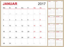 German Calendar 2017. German planning calendar 2017, week starts on Monday, vector illustration Royalty Free Stock Photos