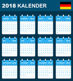 German Calendar for 2018. Scheduler, agenda or diary template. Week starts on Monday Royalty Free Stock Photography