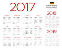 German calendar 2017-2018-2019 template. Vector text is outlined Stock Photography