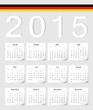 German 2015 calendar. German 2015 vector calendar with shadow angles. Week starts from Monday Stock Photo