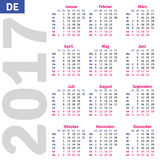 German calendar 2017. Vertical calendar grid, vector Royalty Free Stock Images
