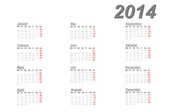 German calendar for 2014. On white background Royalty Free Stock Image