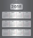 2018 German calendar. Calendar for 2018 year in German with attached metallic tablets. Vector illustration Stock Image