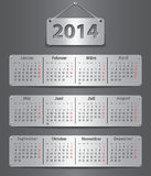 2014 German calendar. Calendar for 2014 year in German attached with metallic tablets. Vector illustration Royalty Free Stock Images