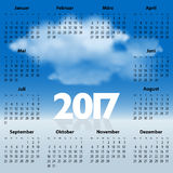German Calendar for 2017 year with clouds Stock Images
