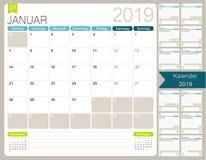German calendar for year 2019. German calendar planner 2019, week starts on Monday, set of 12 months January - December, simple calendar template, simple design vector illustration