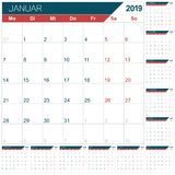 German calendar for year 2019. German calendar template for year 2019, set of 12 months January - December, week starts on Monday, printable calendar planner stock illustration