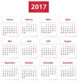 2017 German calendar. Calendar for 2017 year in German on white paper. Vector illustration Stock Photos