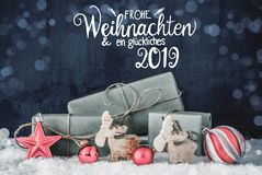 Christmas Decoration, Calligraphy Glueckliches 2019 Means Happy 2019, Bokeh stock photography