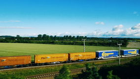 German cargo train seen from above by drone stock video footage