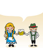 German cartoon couple bubble dialogue. German  man and woman cartoon couple with dialogue bubble. Vector illustration layered for easy editing Stock Image