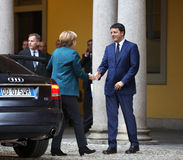 German Chancellor Angela Merkel and Italian Prime Minister Matte Stock Image