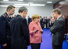 German Chancellor Angela Merkel at NATO summit in Poland. WARSAW, POLAND - Jul 9, 2016: On the sidelines of the NATO summit. German Chancellor Angela Merkel at royalty free stock image