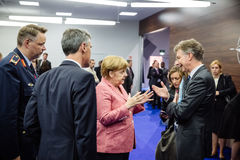 German Chancellor Angela Merkel at NATO summit in Poland. WARSAW, POLAND - Jul 9, 2016: On the sidelines of the NATO summit. German Chancellor Angela Merkel at stock photography
