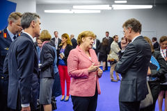 German Chancellor Angela Merkel at NATO summit in Poland. WARSAW, POLAND - Jul 9, 2016: On the sidelines of the NATO summit. German Chancellor Angela Merkel at stock photos
