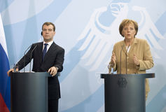 German Chancellor Angela Merkel  and Russian Presi Royalty Free Stock Images