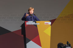 German chancellor angela merkel talking in siegen germany Royalty Free Stock Image