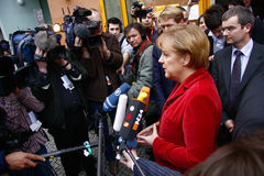 German Chancelor Angela Merkel. Talks to members of the press after a visit in a housing project for people with AIDS in Berlin-Kreuzberg, 26. Februar 2009 Stock Images