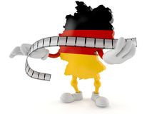 German character holding film strip. Isolated on white background. 3d illustration Stock Images
