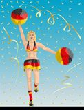 """German Cheerleader of Germany Fans. """"German Cheerleader of Germany Fans"""" Cheerleader girl, confetti papers and background are in different layers Stock Image"""